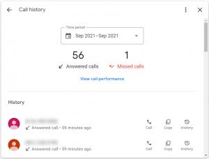 screenshot of call feature