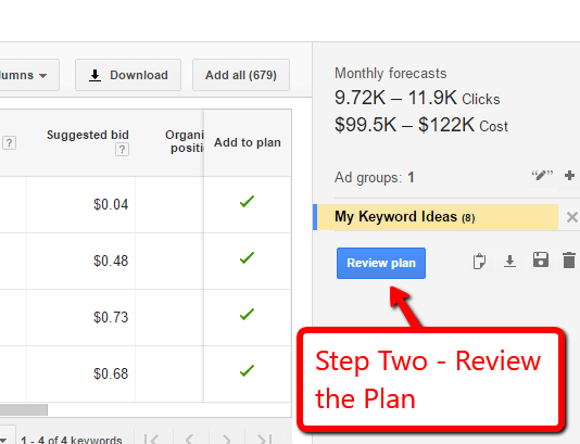 screen capture of AdWords Keyword Planner showing Review Plan button