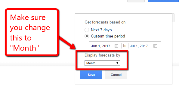 close up of date range setting in the AdWords plan