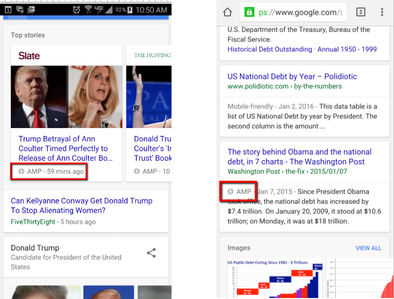 screen captures of amp lightning bolt in mobile search results