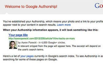 example of Google Authorship notification