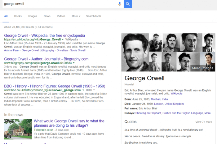 Google Search For George Orwell